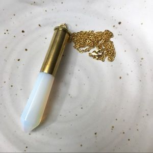 Upcycled vintage Brass Bullet Shell & Opalite
